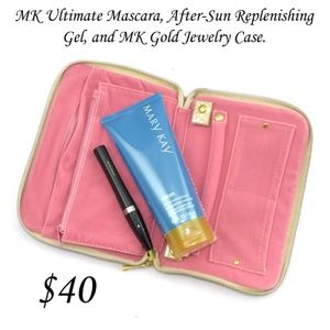 Gold & pink jewelry case & after sun gel & mascara